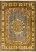 Rugstc 9x12 Senneh Pak Persian Blue Rug Hand-knottedfloral With Silk/wool