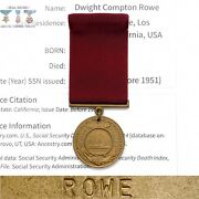 Named 1951 Korean War Navy Good Conduct Medal Dwight C. Rowe +research