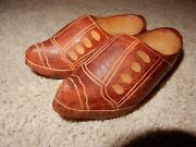 Rare Antique Wwii Era Hand Carved Wooden Shoes Hand Painted