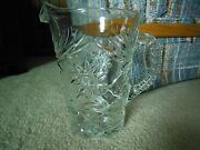 Vintage Extra Heavy Weight Clear Glass Pitcher Cut Glass Star Design