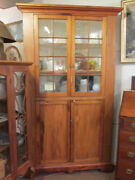 S38 Antique Pine And Basswood Corner Cabinet Cupboard 16 Light Old Wavy Glass