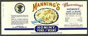 Vintage Can Label Manning's Hominy, Pork And Beans 1940 Baltimore Lot Of 360