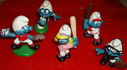 19 Lot Of 5 Vintage Smurfete Baseball,pitcher And Catcher Smurfs Plus More