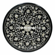 30 Black Round Marble Dining Table Top Mother Of Pearl Random Inlay Art Decor