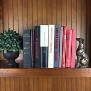 Black White Red Grey Decorative Book Lot Instant Library Staging Vintage Modern