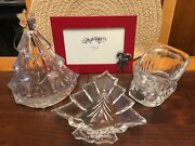 Lot Of 3 Clear Glass/crystal Christmas Sleigh Tree Votive Candy Dish Frame Epc