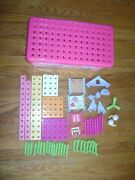 Trio Fisher Price Building Set 93/97 Pieces In Storage Box R8867 Pink Car Rare