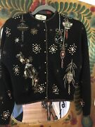 Vnt Ooak 1950s Hand Beaded Lambs Wool Christmas Sweater Gene Shelly's Boutique