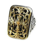 Gerochristo 2606 Solid Gold And Sterling Silver Medieval Large Cross Ring