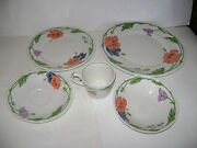 Villeroy And Boch Anno 1748 Germany Amapola 5 Piece Place Setting Plate Bowl Rare