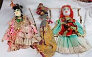 Vintage Lot Of 3 Wooden Hand Puppets Marrionettes