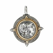 Savati 22k Solid Gold And Sterling Silver - Athena Single Sided Coin Pendant