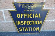 Vintage Double Sided Porcelain Pa Dot Official Inspection Station Sign