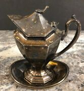 Hotel Silverplate Hinged Lid Covered Gravy Or Creamer Underplate Reed And Barton