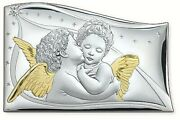 Painting Sacred Giant Angels The Kiss Cm.45x30 Slab Silver 925 E Gold 1702/45d