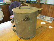 S38 Antique Tinned Metal Milk Carrying Pail Spouted Handled Lidded Wooden Handle