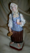 Antique And Rare Russian Empire Gardner Porcelain Figurine Girl With A Jug