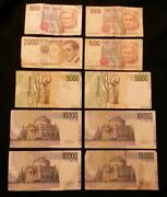 Italy 1000 2000 5000 10000 Lire Banknotes. 10 Notes