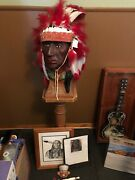 Vintage Native American Statue With Head Dress And Stand.