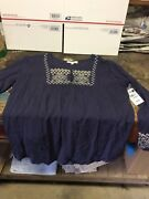 Womenand039s Pleasant Shade Blue Lace Blouse Medium Tractor Supply Co. Nwt