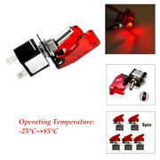 5pcs Red Cover Led Rocker Toggle Switch Car Truck Boat 2pin Working For 9v12vdc