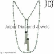 White Pearl Beads Onyx Diamond 925 Silver 60 Long Necklace Wedding Look Jewelry