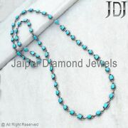 40 Natural Pave Diamond Turquoise Wedding Necklace 925 Silver Handmade Jewelry
