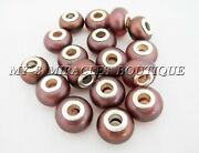100 Brown Pearlized Acrylic Large Hole Beads Charms - Fits Bracelets - Diy Gifts