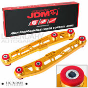 Jdm Sport Gold Cross Design Lower Control Arm + Red Bushings For 88-91 Crx