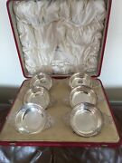 Cased Set Of 6 Silver Porringers With Pierced Handles Glasgow 1912 Approx 24oz