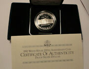 1992-w Us White House 200th Anniversary Commemorative Proof Silver Cameo Dollar