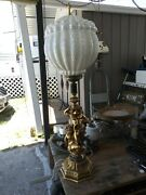 Large 38 Inch 3 Cherub Banquet Parlor Gone With The Wind Irredescent Lamp