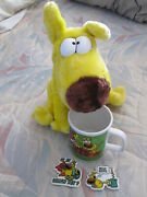 Vintage 1987 Mother Goose And Grimm Grimmy Plush Doll Coffee Mug And 2 Fridge