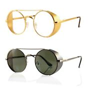Fbl Steampunk Fused Metal Side Shield Round Clear Glasses Sunglasses A115 A132