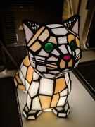And Co Stained Glass Lamp Cat Rare Edition With Bulb