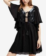 Free People Moonglow Sequin-embellished Mini Dress-black-size-s- Brand New