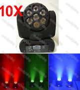 10x Dj Lights Rgbw 7x10w 4in1 Beam Wash Mini Led Moving Head Party Moving Heads