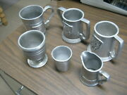 Lot Of 6 Vintage Pewter Pitcher Bicentennial Pa Cup Goblet 3 Beer Steins
