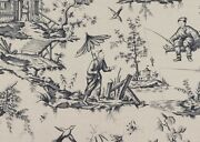 Schumacher Chinoiserie Asian Toile Cotton Linen Fabric 10 Yards Charcoal
