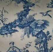 Schumacher Chinoiserie Asian Toile Cotton Linen Fabric 10 Yards Blue Taupe