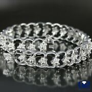 Womenand039s 2.48 Ct Round Cut Diamond Floral Shaped Bracelet In 18k White Gold