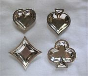 Vintage 900 Sterling Playing Card Suit Casino, Card Table Condiment / Nut Dishes