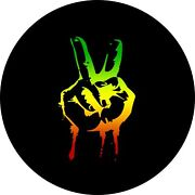 Rasta Hand Peace Sign Spare Tire Cover Any Size Any Vehicle Camper Rv
