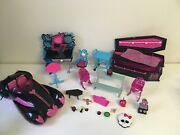 Monster High Doll Furniture Huge Mixed Lot Draculaura Frankie Stein Playsets