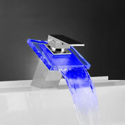 Led Glass Waterfall Faucet Bathroom Basin Tap Vanity Mixer Faucets Color Change