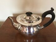 Boat Shaped Solid Silver Teapot On A Raised Foot Birmingham 1908 380grams
