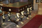 Antique French Empire Gilded Lion Heads Claw Feet Table Desk Leather Rare