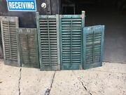 """Lot Of 5 Victorian Louvered House Window Shutters Old Worn Paint 29"""" - 37.5"""" H"""