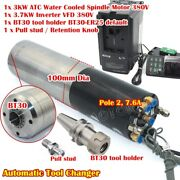 Cnc 3kw 380v Automatic Tool Change Atc Water Spindle Motor Bt30 + 3.7kw Inverter
