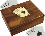 Skavij Wooden Playing Card Holder 1 Deck Case For Playing Or Poker Cards Brown